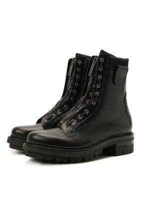 Мужские кожаные ботинки DSQUARED2 черного цвета, арт. ABM0075 24900001 | Фото 1 (Подошва: Плоская; Материал внутренний: Натуральная кожа; Каблук высота: Высокий; Мужское Кросс-КТ: Байкеры-обувь, Ботинки-обувь)