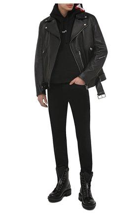 Мужские кожаные ботинки DSQUARED2 черного цвета, арт. ABM0075 24900001 | Фото 2 (Подошва: Плоская; Материал внутренний: Натуральная кожа; Каблук высота: Высокий; Мужское Кросс-КТ: Байкеры-обувь, Ботинки-обувь)