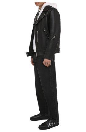 Мужские кожаные кеды icon DSQUARED2 черного цвета, арт. SNM0005 01502228 | Фото 2 (Подошва: Плоская; Материал внутренний: Натуральная кожа)