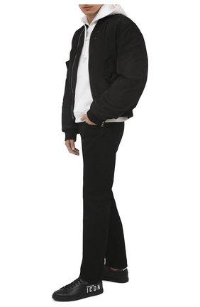 Мужские кожаные кеды icon d2 x ibra DSQUARED2 черного цвета, арт. SNM0005 01504180 | Фото 2