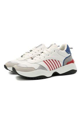 Мужские комбинированные кроссовки d24 DSQUARED2 белого цвета, арт. SNM0097 01503804 | Фото 1 (Материал внутренний: Текстиль, Натуральная кожа; Подошва: Массивная; Стили: Гранж)
