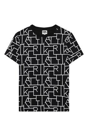 Детская хлопковая футболка KARL LAGERFELD KIDS черного цвета, арт. Z25279   Фото 1