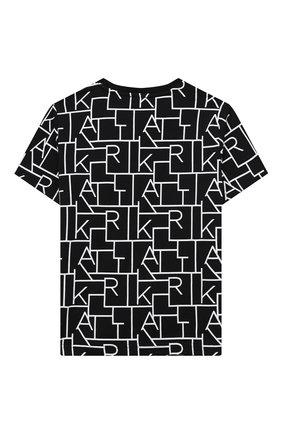 Детская хлопковая футболка KARL LAGERFELD KIDS черного цвета, арт. Z25279   Фото 2
