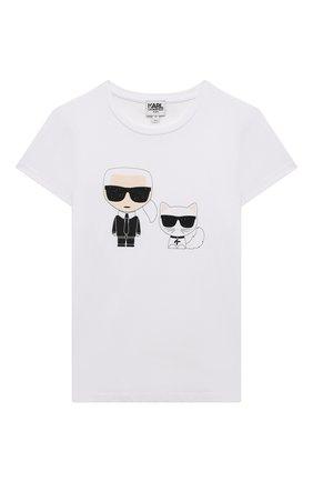 Детская хлопковая футболка KARL LAGERFELD KIDS белого цвета, арт. Z15297   Фото 1