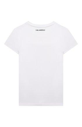 Детская хлопковая футболка KARL LAGERFELD KIDS белого цвета, арт. Z15297   Фото 2
