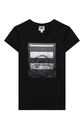 Детская хлопковая футболка KARL LAGERFELD KIDS черного цвета, арт. Z15294   Фото 1