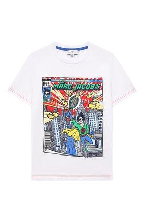 Детская хлопковая футболка MARC JACOBS (THE) белого цвета, арт. W25470   Фото 1