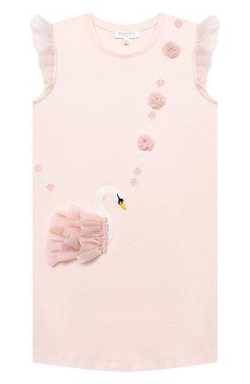 Детское хлопковое платье CHARABIA розового цвета, арт. S12245 | Фото 1 (Рукава: Короткие; Материал внешний: Хлопок; Случай: Повседневный; Девочки Кросс-КТ: Платье-одежда; Ростовка одежда: 10 - 11 лет | 140 - 146см, 3 года | 98 см, 4 года | 104 см, 5 лет | 110 см, 6 лет | 116 см, 8 лет | 128 см)