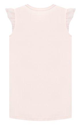 Детское хлопковое платье CHARABIA розового цвета, арт. S12245 | Фото 2 (Рукава: Короткие; Материал внешний: Хлопок; Случай: Повседневный; Девочки Кросс-КТ: Платье-одежда; Ростовка одежда: 10 - 11 лет | 140 - 146см, 3 года | 98 см, 4 года | 104 см, 5 лет | 110 см, 6 лет | 116 см, 8 лет | 128 см)
