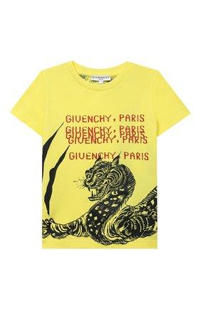 Детская хлопковая футболка GIVENCHY желтого цвета, арт. H25254 | Фото 1
