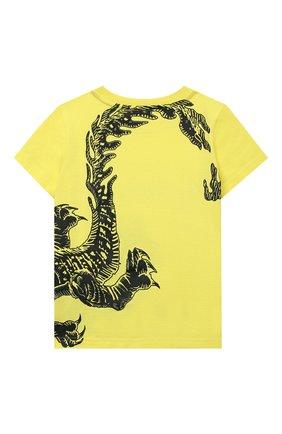 Детская хлопковая футболка GIVENCHY желтого цвета, арт. H25254 | Фото 2