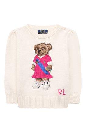 Детский хлопковый пуловер POLO RALPH LAUREN бежевого цвета, арт. 313834981 | Фото 1