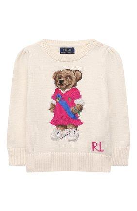 Детский хлопковый пуловер POLO RALPH LAUREN бежевого цвета, арт. 311834981 | Фото 1
