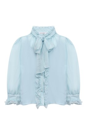 Детское шелковая блузка DOLCE & GABBANA голубого цвета, арт. L54S92/FU1AT/2-6 | Фото 1