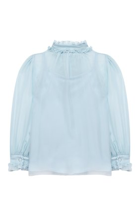 Детское шелковая блузка DOLCE & GABBANA голубого цвета, арт. L54S92/FU1AT/2-6 | Фото 2