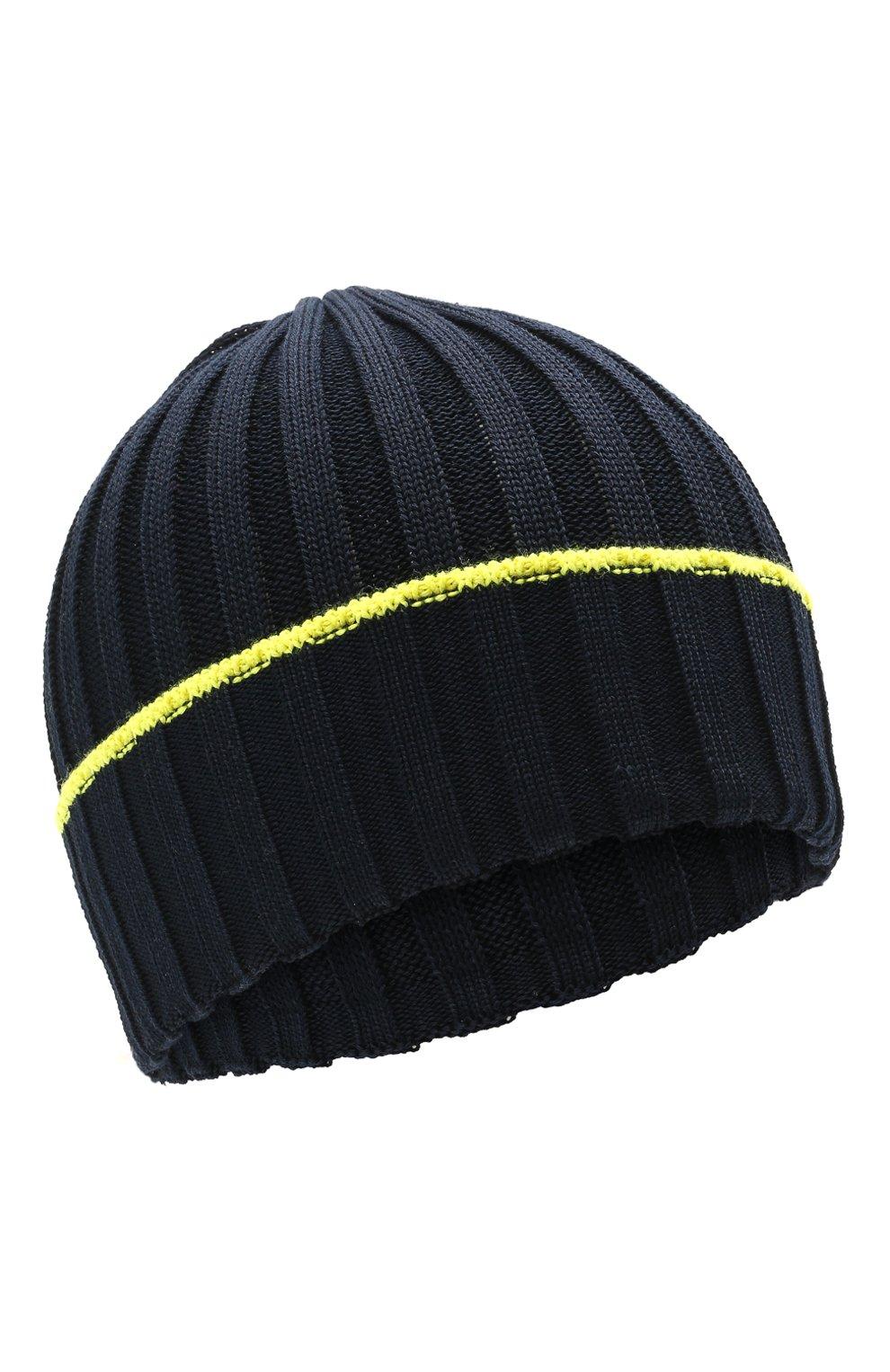 Детского хлопковая шапка IL TRENINO темно-синего цвета, арт. 21 5052   Фото 1 (Материал: Текстиль, Хлопок)