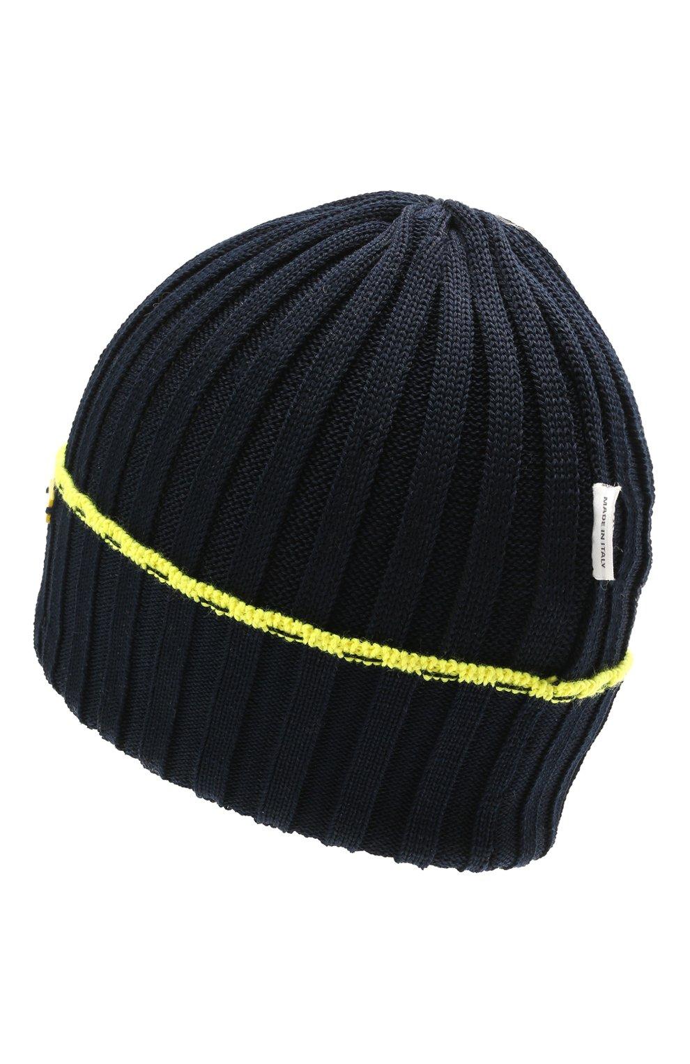 Детского хлопковая шапка IL TRENINO темно-синего цвета, арт. 21 5052   Фото 2 (Материал: Текстиль, Хлопок)