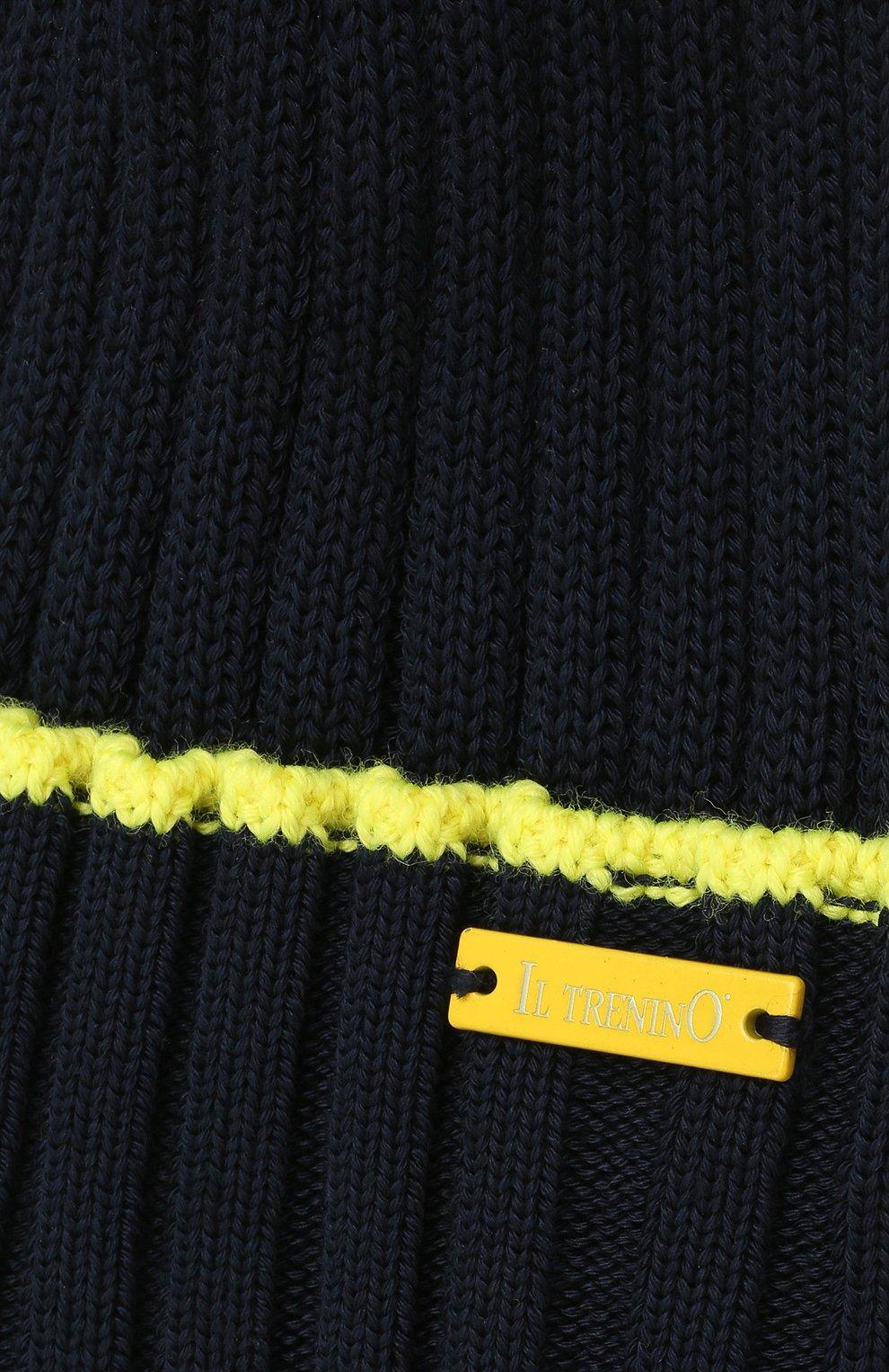 Детского хлопковая шапка IL TRENINO темно-синего цвета, арт. 21 5052   Фото 3 (Материал: Текстиль, Хлопок)
