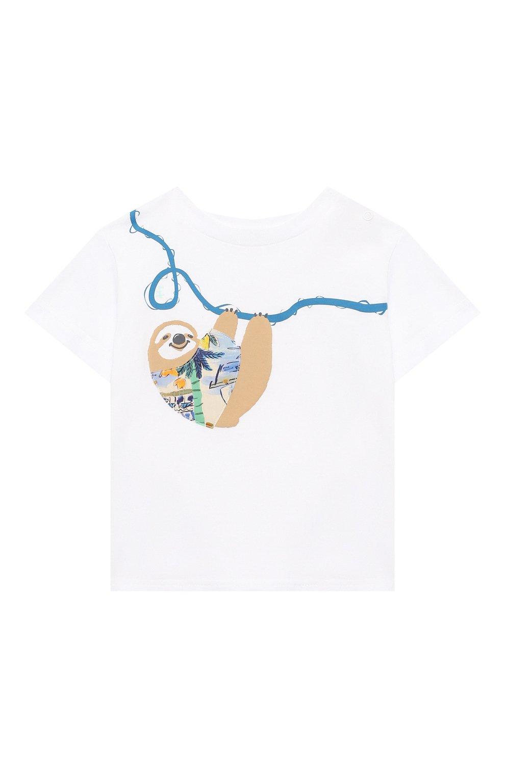 Детский хлопковая футболка IL GUFO белого цвета, арт. P21TS292M0014/3M-9M   Фото 1