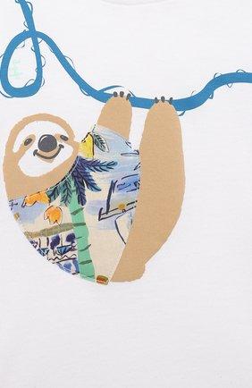 Детский хлопковая футболка IL GUFO белого цвета, арт. P21TS292M0014/3M-9M   Фото 3