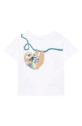 Детский хлопковая футболка IL GUFO белого цвета, арт. P21TS292M0014/12M-18M | Фото 1