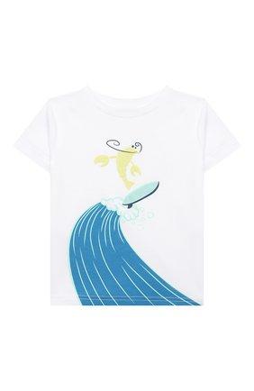 Детский хлопковая футболка IL GUFO белого цвета, арт. P21TS291M0014/12M-18M | Фото 1 (Рукава: Короткие; Материал внешний: Хлопок; Ростовка одежда: 6 мес | 68 см, 12 мес | 80 см)