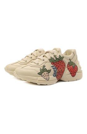 Детские кожаные кроссовки GUCCI бежевого цвета, арт. 652829/DRW00 | Фото 1