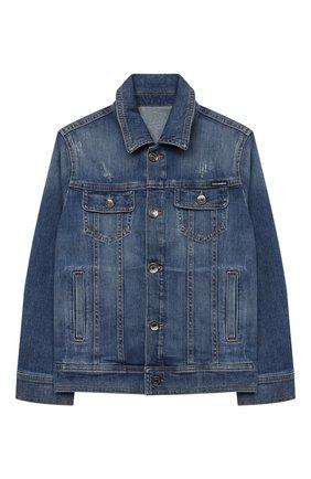 Детского джинсовая куртка DOLCE & GABBANA синего цвета, арт. L41B95/LD915/2-6 | Фото 1