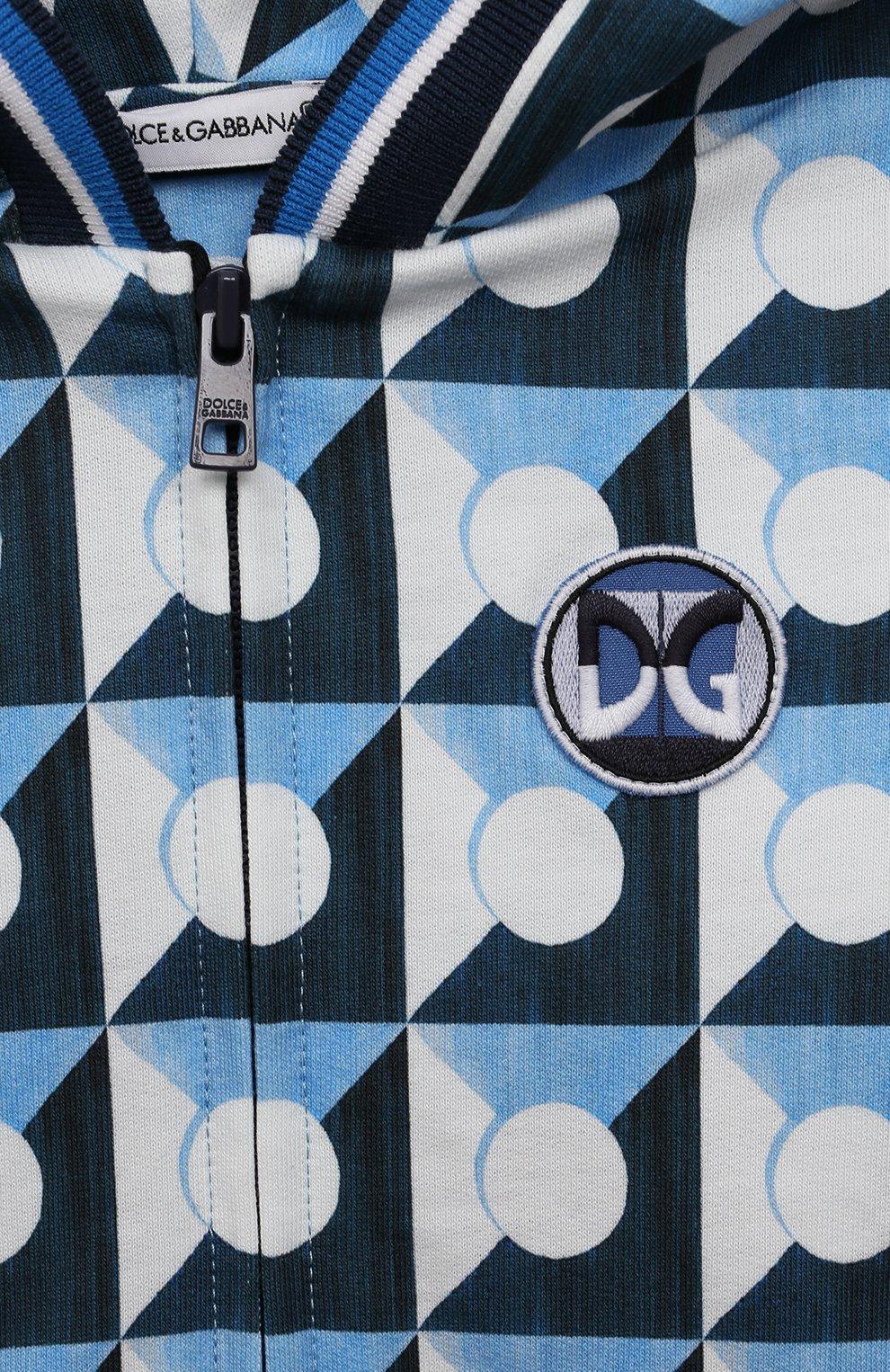 Детский хлопковая толстовка DOLCE & GABBANA голубого цвета, арт. L1JW3F/G7WRR | Фото 3