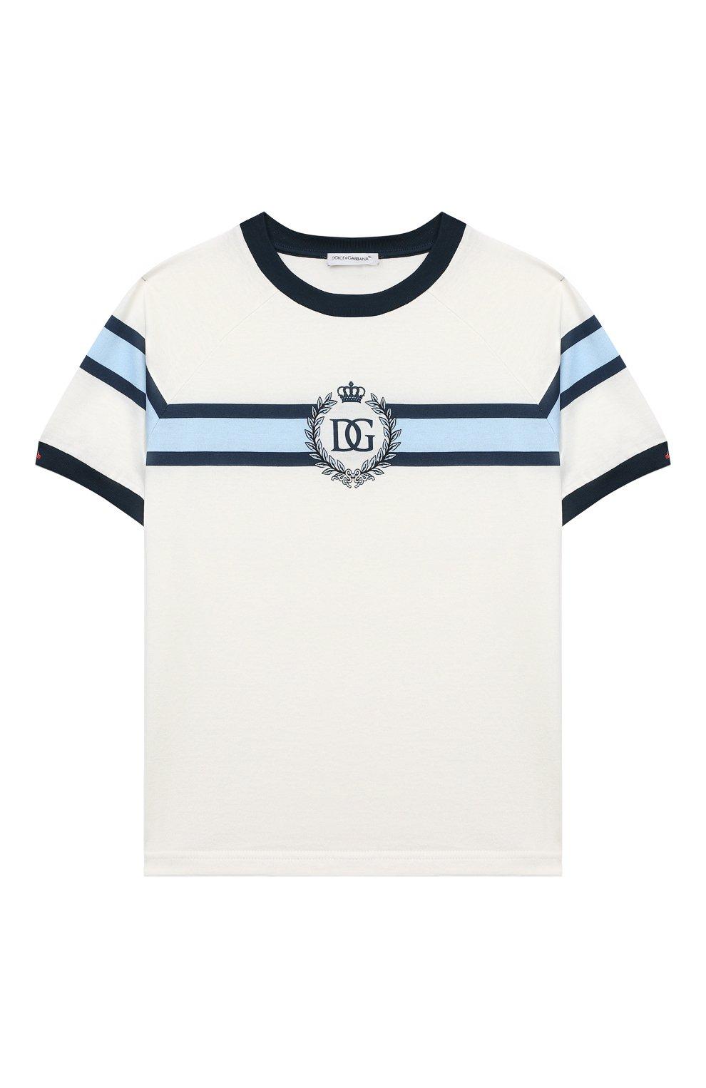 Детский хлопковая футболка DOLCE & GABBANA белого цвета, арт. L1JT8X/G7WRV | Фото 1