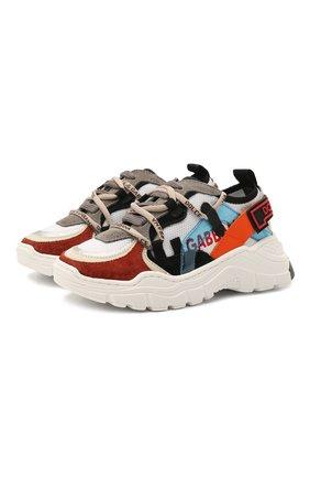 Детские кожаные кроссовки DOLCE & GABBANA разноцветного цвета, арт. DA0965/A0210/24-28   Фото 1