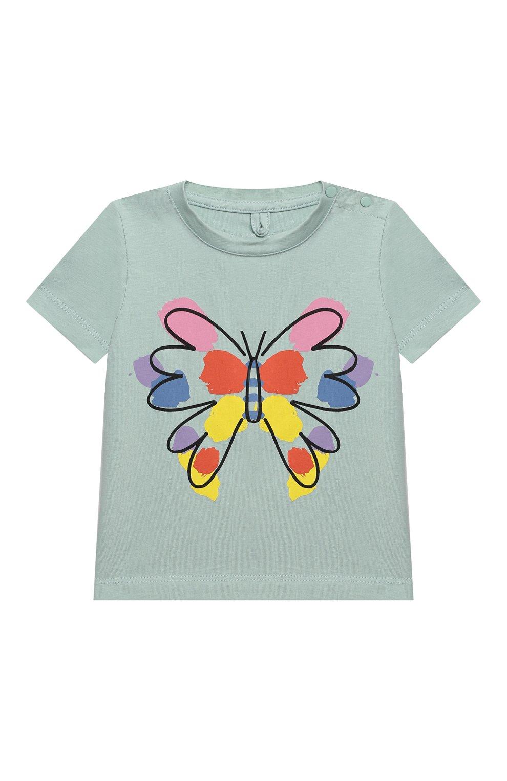 Детский хлопковая футболка STELLA MCCARTNEY бирюзового цвета, арт. 602597/SQJC1 | Фото 1