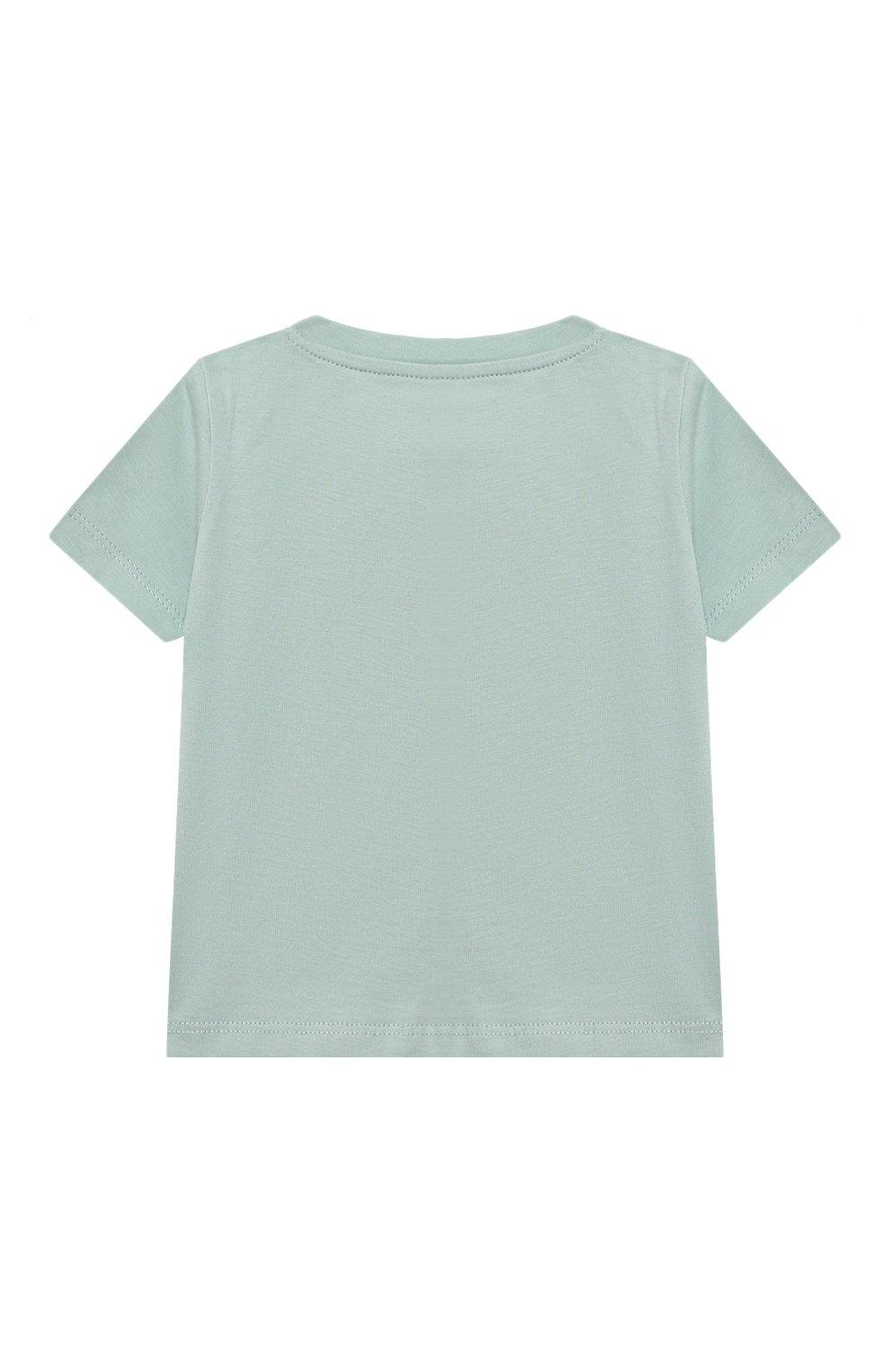 Детский хлопковая футболка STELLA MCCARTNEY бирюзового цвета, арт. 602597/SQJC1 | Фото 2