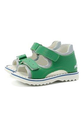 Детские кожаные сандалии WALKEY зеленого цвета, арт. Y1B2-41299-0129 | Фото 1
