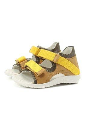Детские кожаные сандалии WALKEY желтого цвета, арт. Y1B2-41305-0981 | Фото 1