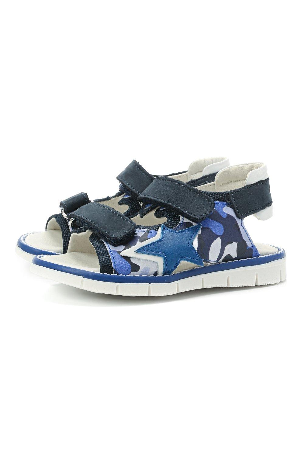 Детские сандалии WALKEY синего цвета, арт. Y1B2-41313-1209/19-24 | Фото 1 (Материал внешний: Экокожа, Текстиль; Материал внутренний: Натуральная кожа)