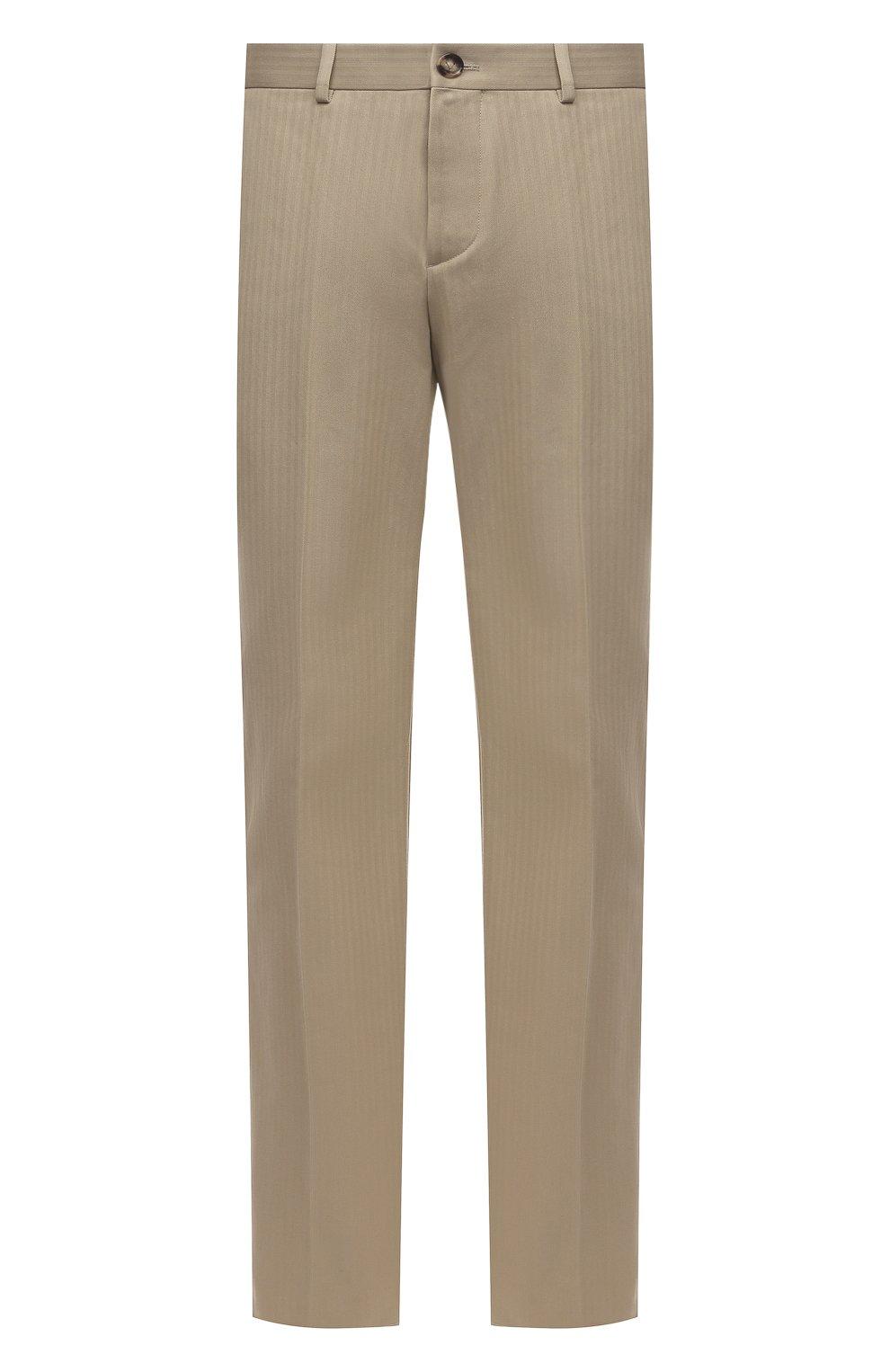 Мужские хлопковые брюки BOTTEGA VENETA бежевого цвета, арт. 651056/V07H0 | Фото 1 (Длина (брюки, джинсы): Стандартные; Случай: Повседневный; Материал внешний: Хлопок; Стили: Минимализм)