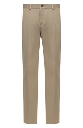 Мужские хлопковые брюки BOTTEGA VENETA бежевого цвета, арт. 651056/V07H0 | Фото 1 (Случай: Повседневный; Длина (брюки, джинсы): Стандартные; Стили: Минимализм; Материал внешний: Хлопок)