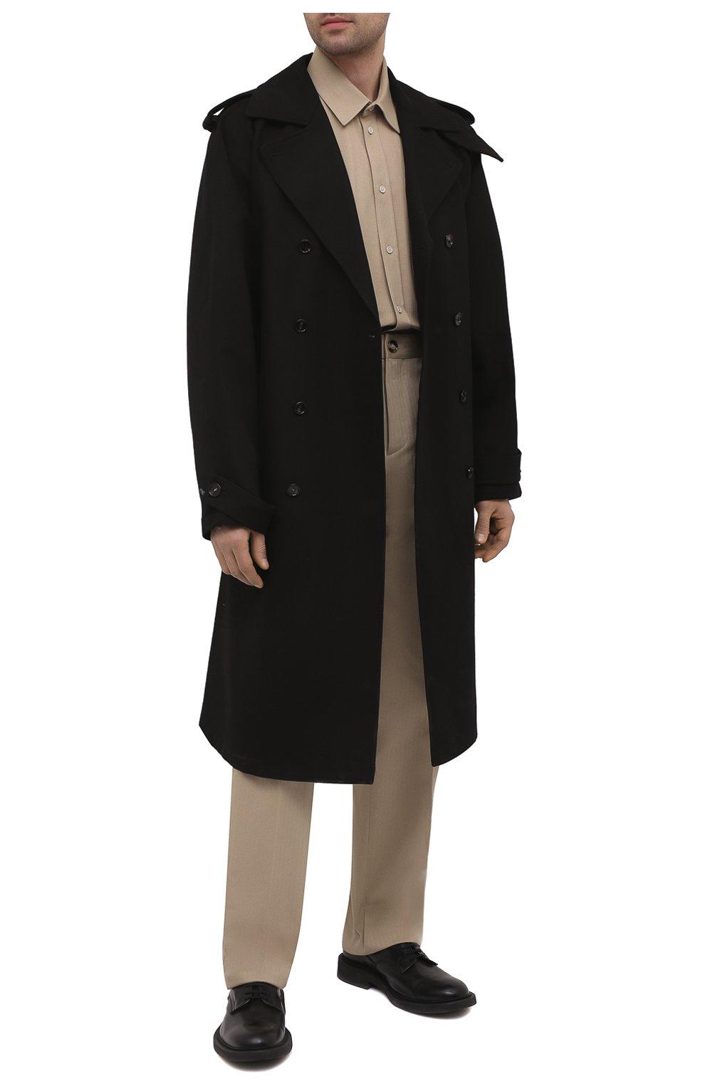 Мужские хлопковые брюки BOTTEGA VENETA бежевого цвета, арт. 651056/V07H0 | Фото 2 (Длина (брюки, джинсы): Стандартные; Случай: Повседневный; Материал внешний: Хлопок; Стили: Минимализм)
