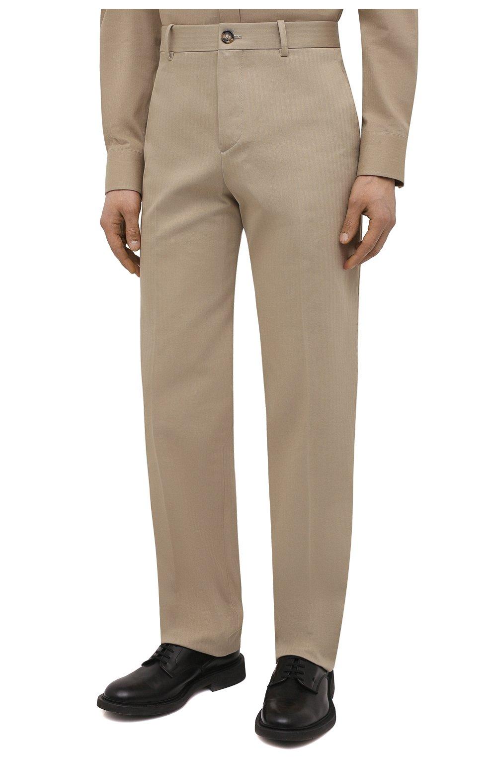 Мужские хлопковые брюки BOTTEGA VENETA бежевого цвета, арт. 651056/V07H0 | Фото 3 (Длина (брюки, джинсы): Стандартные; Случай: Повседневный; Материал внешний: Хлопок; Стили: Минимализм)