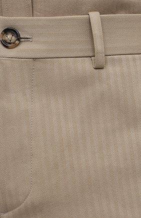 Мужские хлопковые брюки BOTTEGA VENETA бежевого цвета, арт. 651056/V07H0 | Фото 5 (Длина (брюки, джинсы): Стандартные; Случай: Повседневный; Материал внешний: Хлопок; Стили: Минимализм)