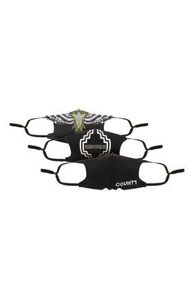 Мужская комплект из трех масок для лица MARCELO BURLON черного цвета, арт. CMRG008S21FAB001 | Фото 1