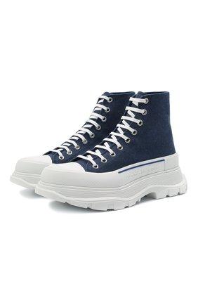 Мужские текстильные кроссовки ALEXANDER MCQUEEN синего цвета, арт. 604254/W4PD1 | Фото 1 (Материал внутренний: Натуральная кожа; Материал внешний: Текстиль; Подошва: Массивная; Стили: Гранж)