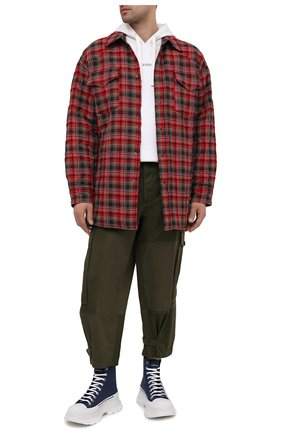 Мужские текстильные кроссовки ALEXANDER MCQUEEN синего цвета, арт. 604254/W4PD1 | Фото 2 (Материал внутренний: Натуральная кожа; Материал внешний: Текстиль; Подошва: Массивная; Стили: Гранж)
