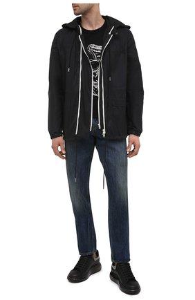 Мужские кожаные кеды ALEXANDER MCQUEEN черного цвета, арт. 645873/WHZ4Q   Фото 2 (Подошва: Массивная; Материал внутренний: Натуральная кожа)