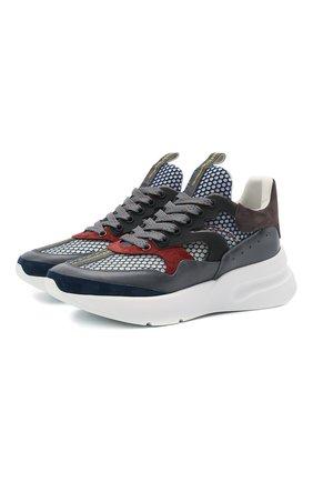 Мужские комбинированные кроссовки ALEXANDER MCQUEEN разноцветного цвета, арт. 645883/WHRHA | Фото 1 (Материал внутренний: Натуральная кожа, Текстиль; Подошва: Массивная; Стили: Гранж)