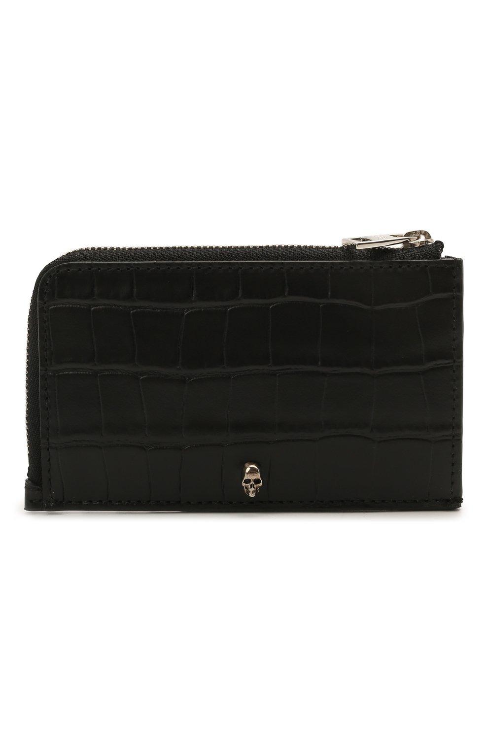 Мужской кожаный кошелек для монет ALEXANDER MCQUEEN черного цвета, арт. 649217/DZTIY   Фото 1