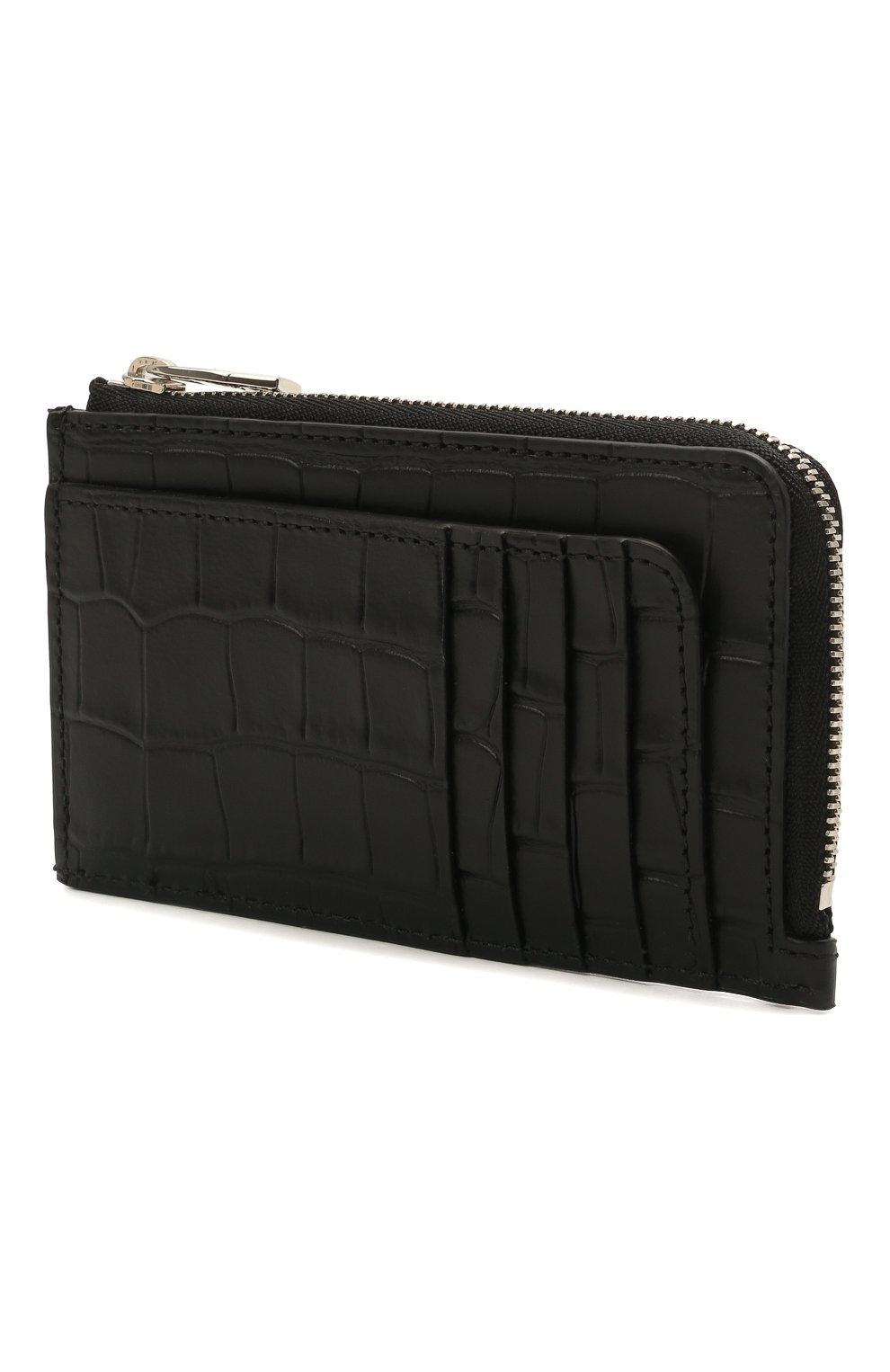 Мужской кожаный кошелек для монет ALEXANDER MCQUEEN черного цвета, арт. 649217/DZTIY   Фото 2