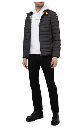Мужская пуховая куртка last minute PARAJUMPERS темно-серого цвета, арт. SL02/LAST MINUTE | Фото 2 (Материал утеплителя: Пух и перо; Материал внешний: Синтетический материал; Материал подклада: Синтетический материал; Рукава: Длинные; Длина (верхняя одежда): Короткие; Кросс-КТ: Куртка; Мужское Кросс-КТ: пуховик-короткий; Стили: Кэжуэл)