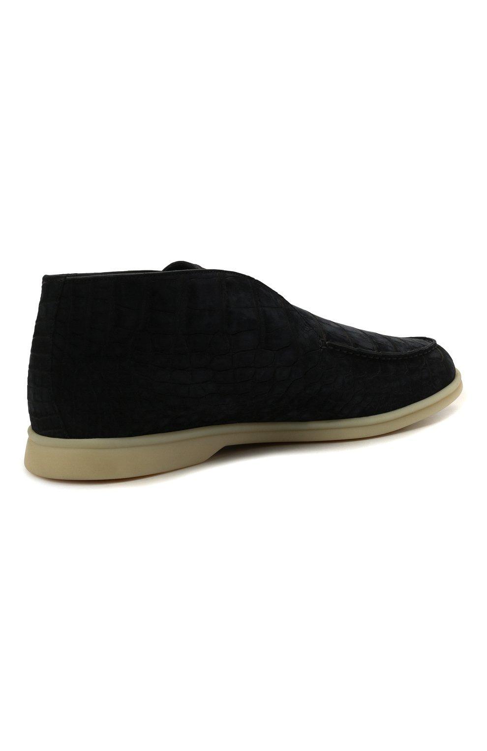 Мужские ботинки из кожи аллигатора open walk LORO PIANA синего цвета, арт. FAL8120/AMIS | Фото 5